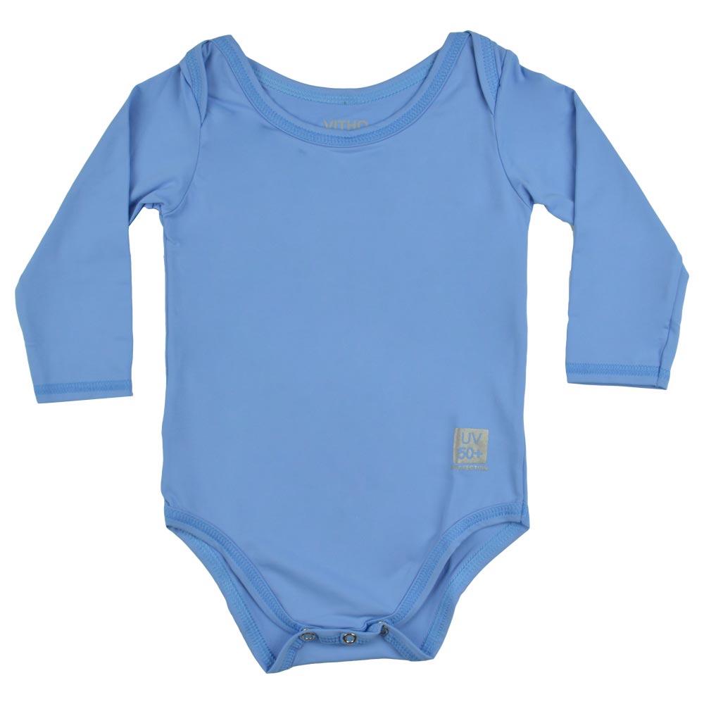 Body Com Protecao Solar Bebe Azul Vitho Bbb Family
