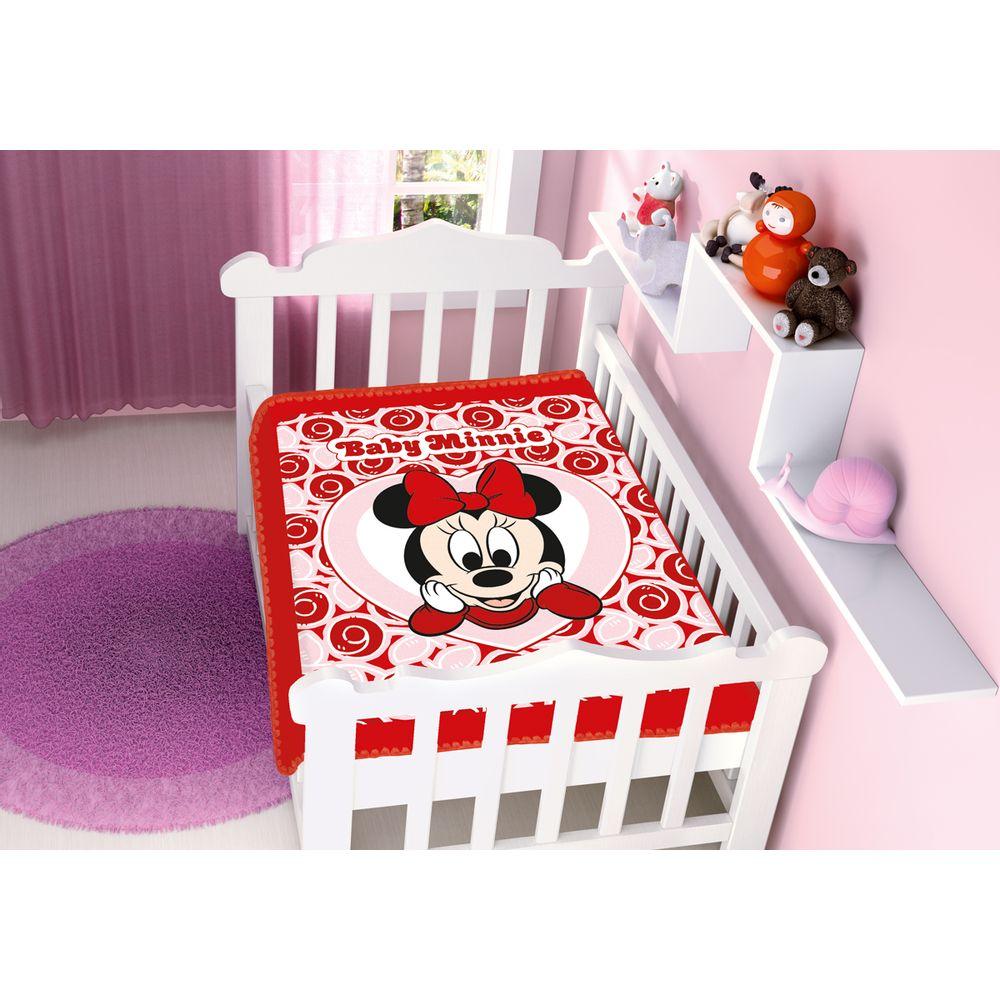 Cobertor-Minnie-Coracao-Vermelho