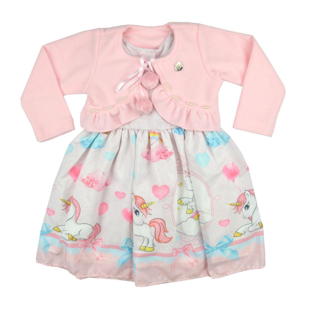 fe8f85adb7 vestido-com-bolero-rosa-1947 Vestido com Bolero Primeiros Passos Mini Miss  ...
