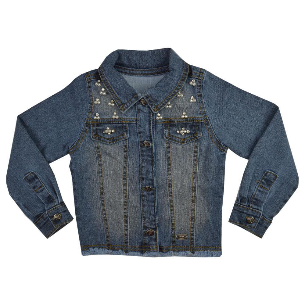 23e54eacd1 Jaqueta Jeans Feminina Infantil Mini Miss. Tabela de Medidas.  jaqueta-jeans-7773