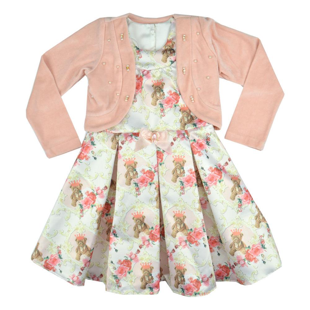 eb45aea767 Vestido com Casaco Infantil Mini Miss. Tabela de Medidas. vestido-com-casaco-off-  ...