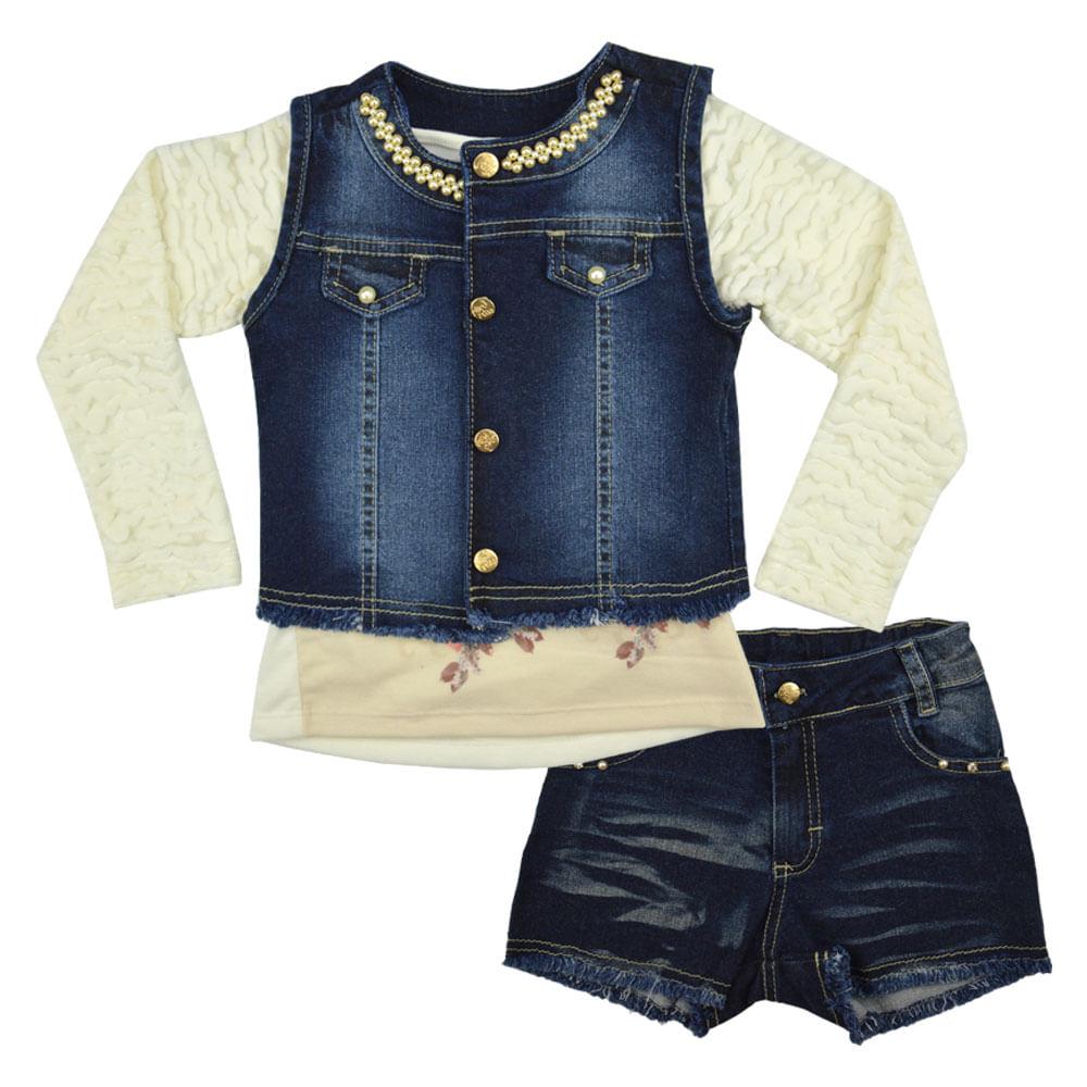 8b315c48e6 Conjunto Feminino Infantil Mini Miss. Tabela de Medidas. conjunto-jeans- ...
