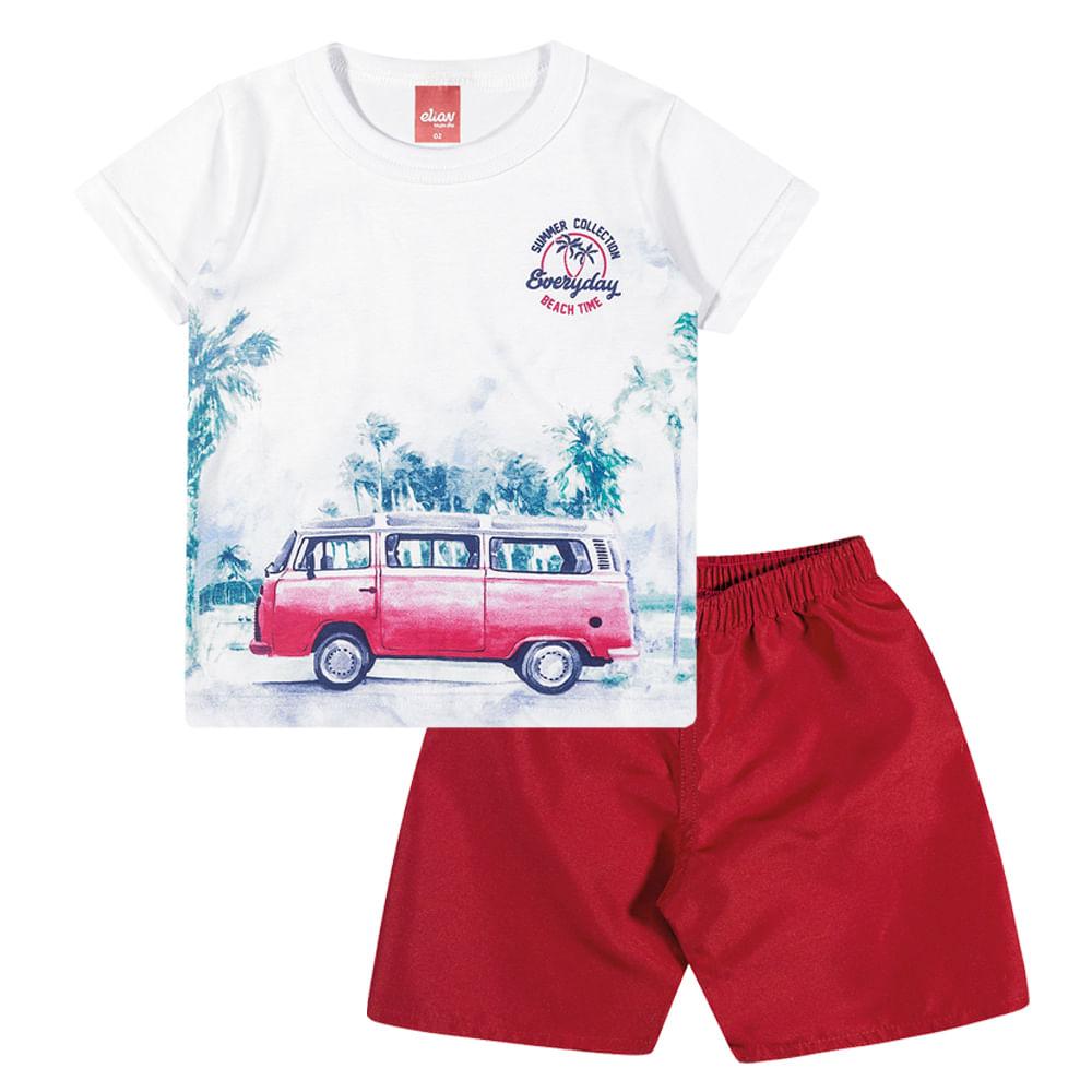Conjunto Camiseta e Bermuda Tactel Elian - bbbkids 8bb12603a49b3