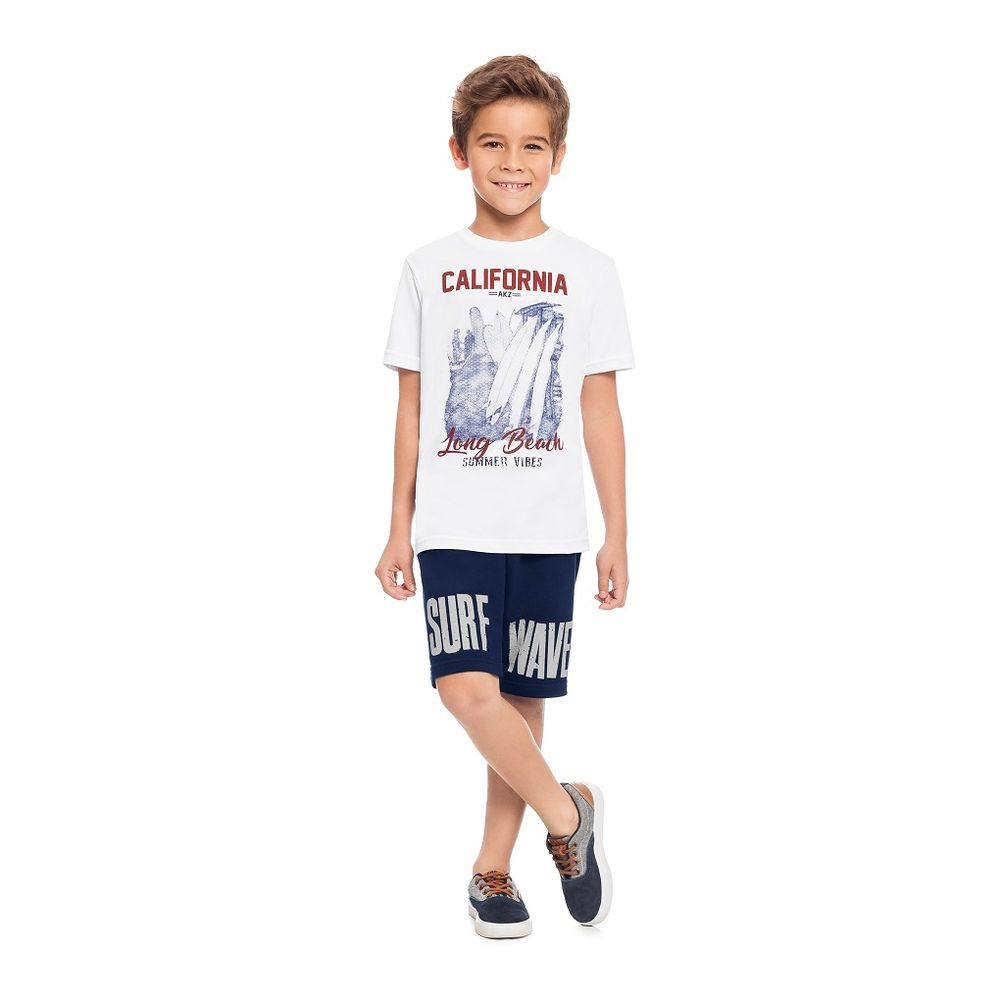 40da68b909 40827-000001 Conjunto Camiseta e Bermuda Masculina Infantil Alakazoo ...