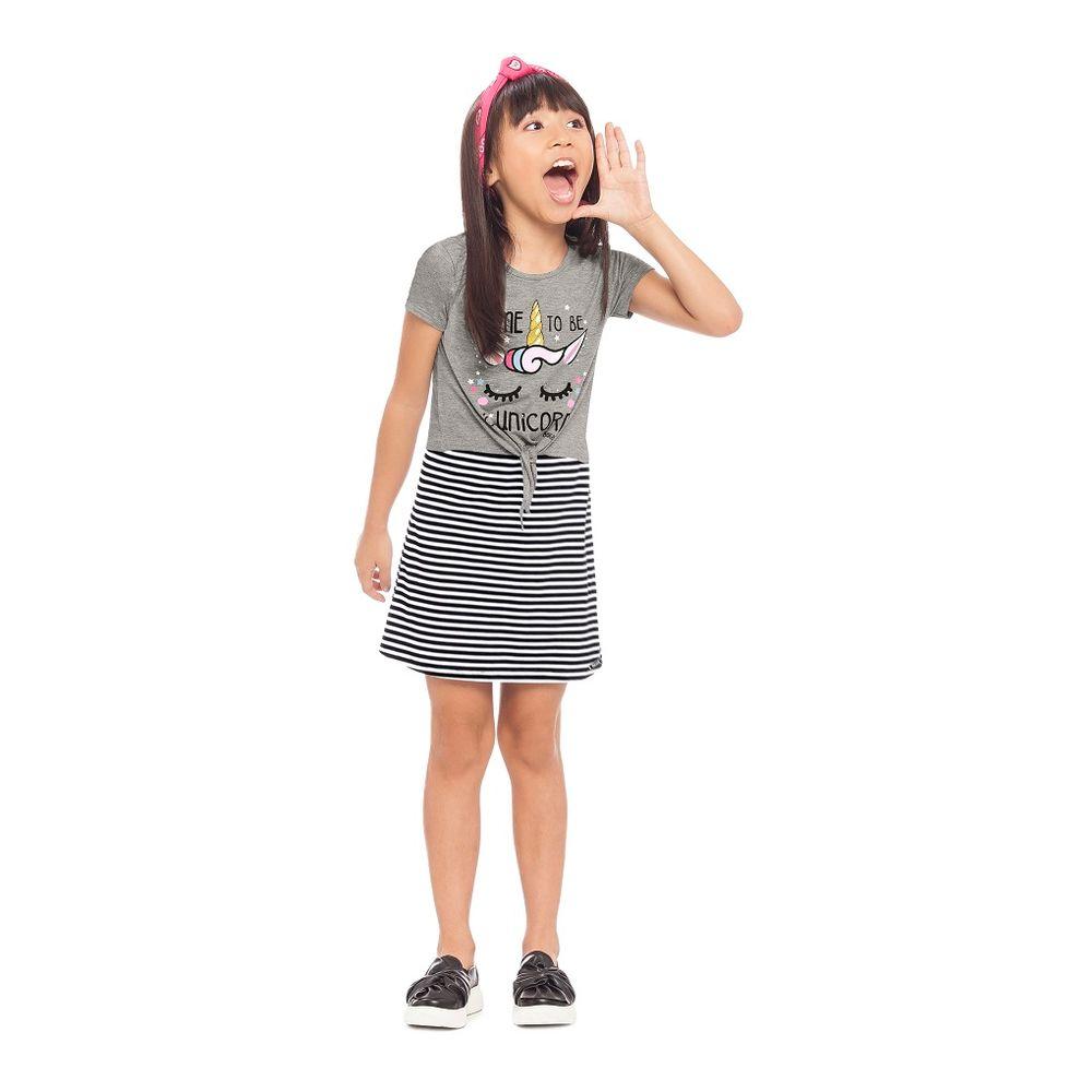 4eb8963213 Vestido e Blusa Unicórnio Feminino Infantil Alakazoo. Tabela de Medidas.  40961- ...