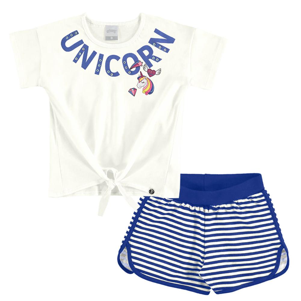 ced18cf753 Conjunto Unicórnio Blusa e Shorts Feminino Infantil Alakazoo. Tabela de  Medidas. 40963-look-off-white