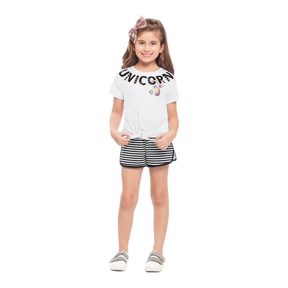 4d8f1f14bd Conjunto Unicórnio Blusa e Shorts Feminino Infantil Alakazoo - bbbkids